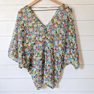 Kut from the Kloth Floral Chiffon Dolman Blouse
